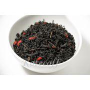 Черный ароматизированный чай c ягодами Годжи-Земляники