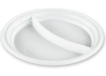 Тарелка пластик 205 мм 2-секции 100 шт